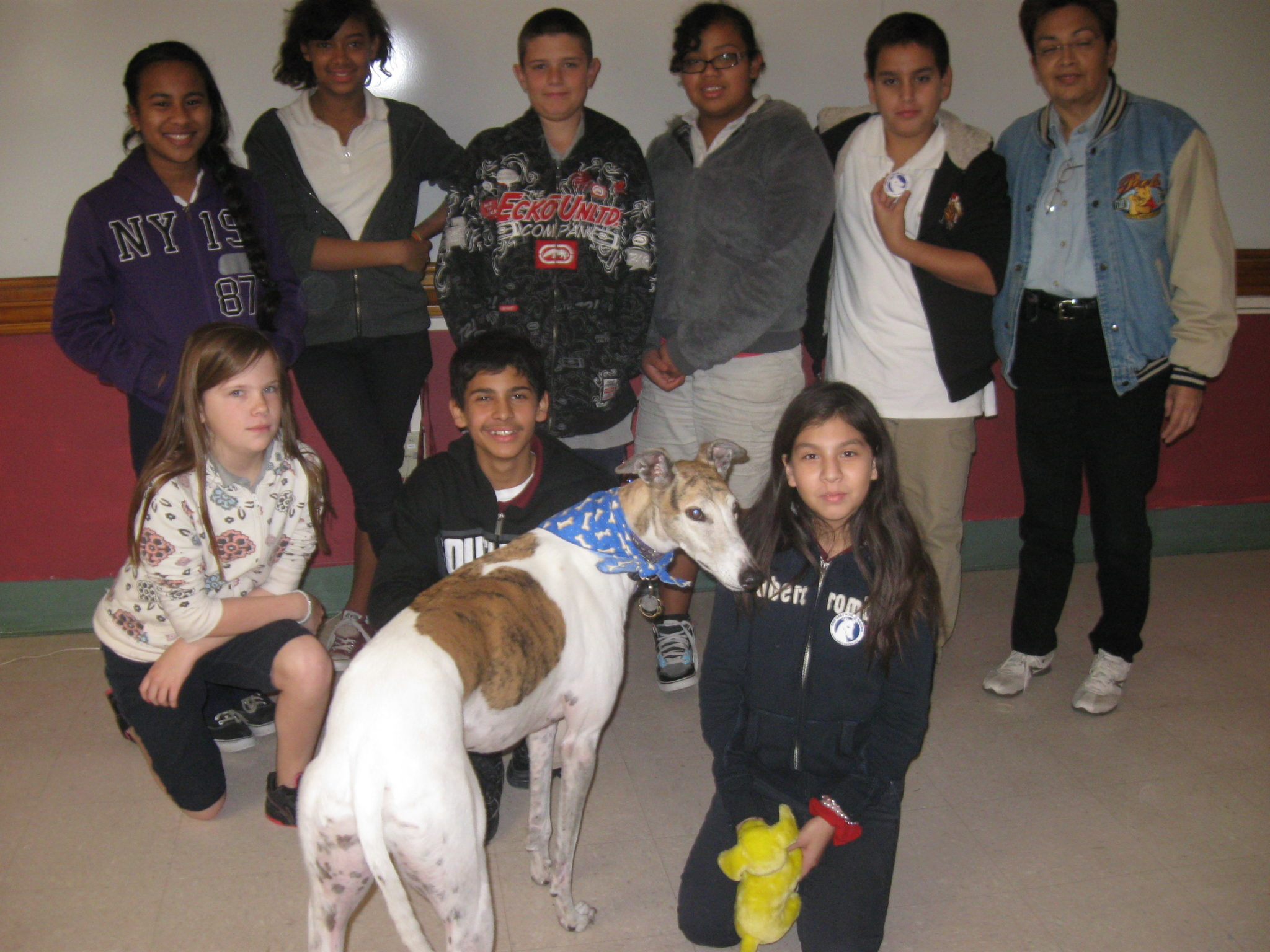Jett Greyhound visits the school.