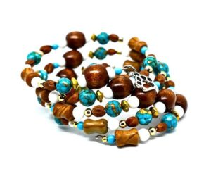Hand crafted coiled beaded bracelet, turquoise, brown, white, and gold