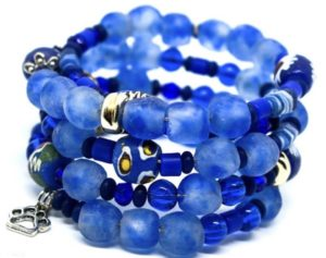 Stunning blue coiled beaded bracelet